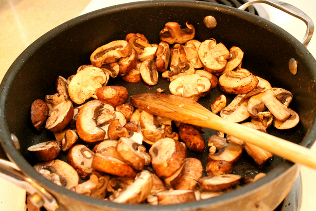 frying mushrooms