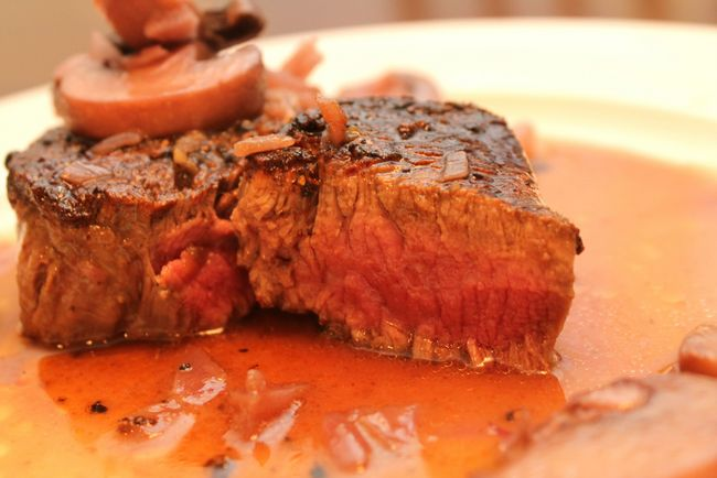 Seared Eye Fillet with a Red Wine and Mushroom Sauce (Primal, Gluten-Free)