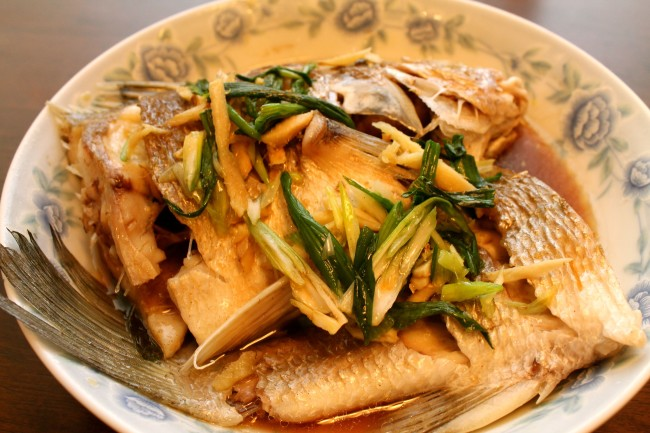 Chinese Steamed Striped Bass (Paleo, Gluten-Free)